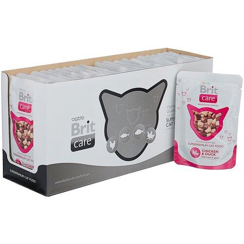 Фото - Влажный корм для кошек Brit Care, с курицей, с уткой 24 шт. х 80 г (мини-филе) влажный корм для кошек brit care с курицей 2 шт х 80 г мини филе