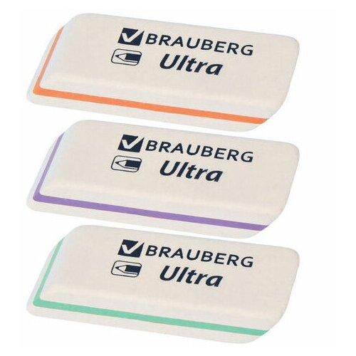 Фото - Ластик BRAUBERG Ultra, 50х14х8 мм, белый, детали ассорти, натуральный каучук, 228704 - 8 шт. ластик прямоугольный синтетич каучук белый 39х19х10 мм index пакет