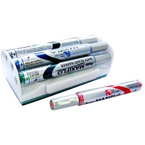 Pentel Набор маркеров для доски Maxiflo с магнитной губкой MWL5S-4N (1 мм, 4 шт.)