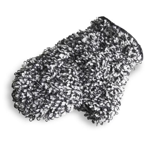 Микрофибровая рукавица для химчистки и уборки авто, 26*18 см, цвет черно-белый