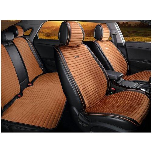 Комплект накидок на автомобильные сиденья CarFashion MONACO PLUS черный/коричневый/коричневый/коричневый