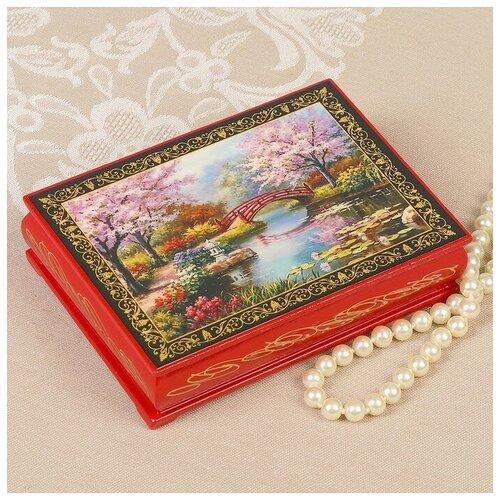 Шкатулка «Цветение сакуры», красная, 10×14 см, лаковая миниатюра 3579592