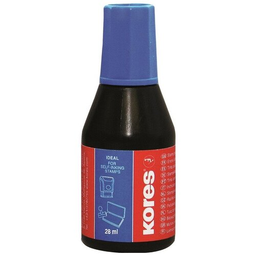 Краска штемпельная KORES синяя 71304 4 шт.