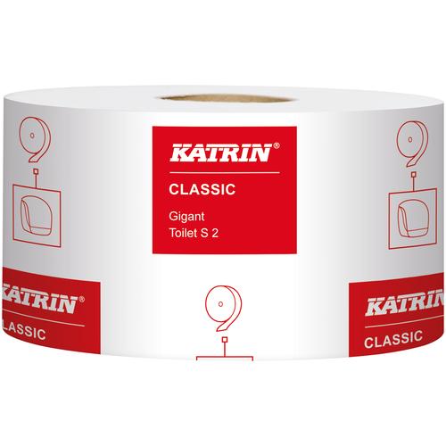 Купить Katrin Classic Gigant Toilet S2 106108 туалетная бумага в больших рулонах, 200 метров(1600отрывов), 2-слойная, быстрорастворимая, белая, 12 рулонов в упаковке.