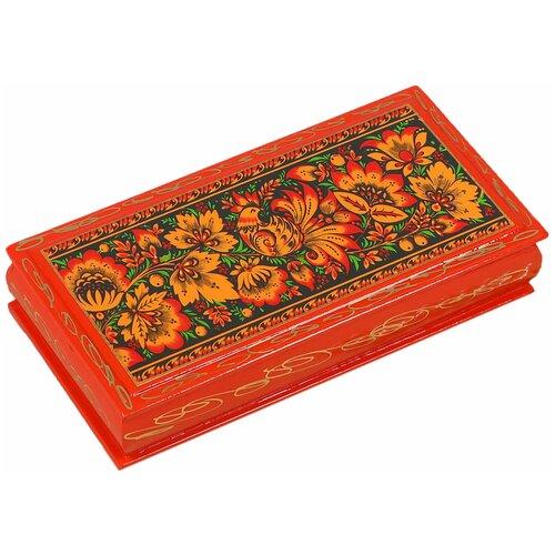 Шкатулка - купюрница «Узоры», 8,5×17 см, красная, лаковая миниатюра 3579606 по цене 492