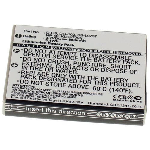 Фото - Аккумуляторная батарея iBatt 850mAh для Pentax, Praktica, Samsung KLIC-7005, NP-40N аккумуляторная батарея ibatt 850mah для pentax praktica samsung klic 7005 np 40n