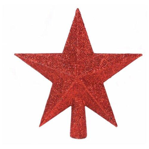 Елочная верхушка звезда делюкс, пластик, глиттер, цвет: красный, 19 см, Kaemingk 029542