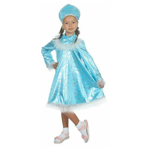 Карнавальный костюм Снегурочка с кокеткой, атлас, кокошник, платье, р-р 32, рост 122-128 см карнавальный костюм ёлочка искристая атлас кокошник платье ярусами р р 30 рост 110 11