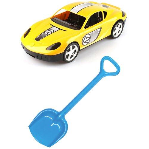Купить Детский игровой набор для песочницы: Детский автомобиль Молния желтый + Лопатка 50 см. синяя, КАРОЛИНА ТОЙЗ, Karolina toys, Наборы в песочницу