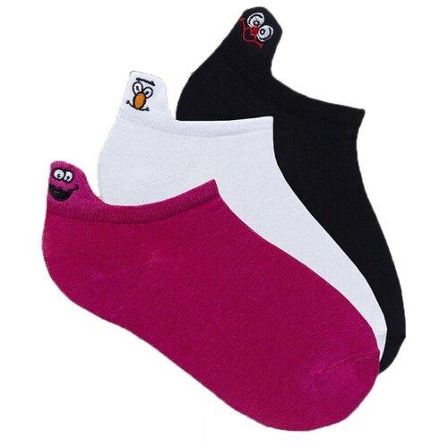 Носки Lunarable Смайлы, 3 пары, размер 35-39, малиновый/белый/черный