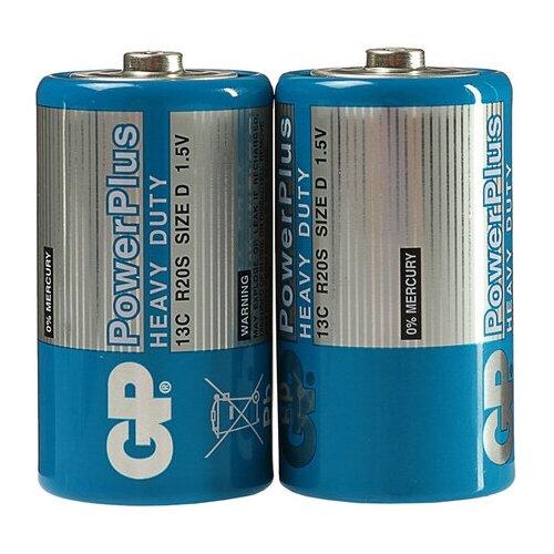 Фото - Батарейка солевая GP PowerPlus Heavy Duty, D, R20-2S, 1.5В, спайка, 2 шт. 3045154 батарейка kodak r20 extra heavy duty kdhz 24 144 6912