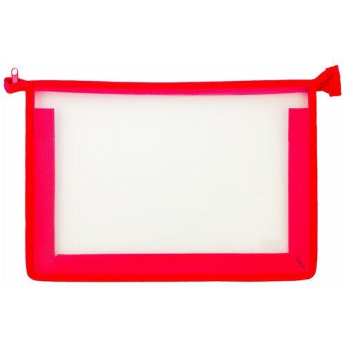 Пифагор Пифагор Папка для тетрадей А4, молния сверху, прозрачная красный недорого
