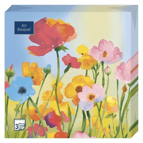 """Купить Салфетки бумажные Bouquet """"Весенние цветы"""" 1 упаковка по 20 штук, размер 33х33 сантиметра, 3-х слойные."""
