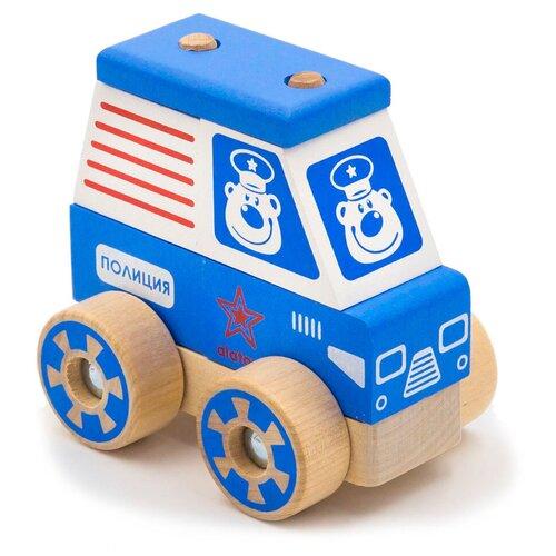 Каталка-игрушка Alatoys Полицейская машина (ККМ04) голубой/белый/красный игрушка попрыгун altacto полицейская машина белый