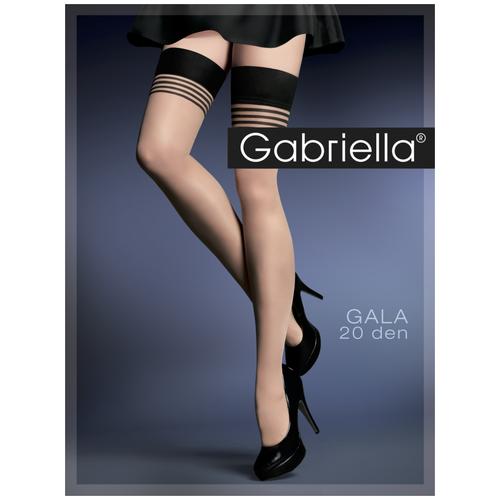 Чулки Gabriella Gala, 20 den, размер 3/4, черный/бежевый