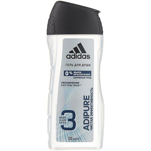 Гель для душа 3 в 1 Adidas Adipure для мужчин, 250 мл