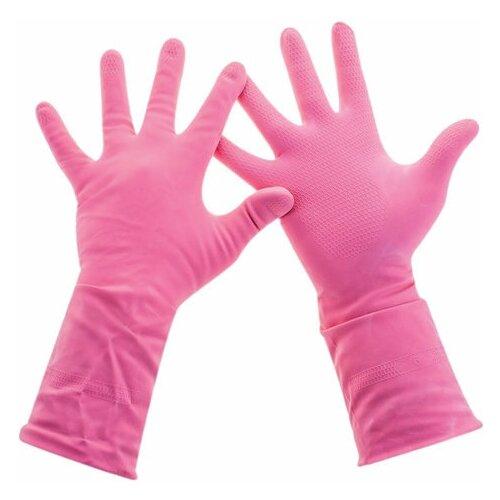 Фото - Перчатки хозяйственные латексные, хлопчатобумажное напыление, разм L (средний), розовые, PACLAN Practi Comfort, 407272, 2 шт. перчатки хозяйственные paclan виниловые размер l 10 шт