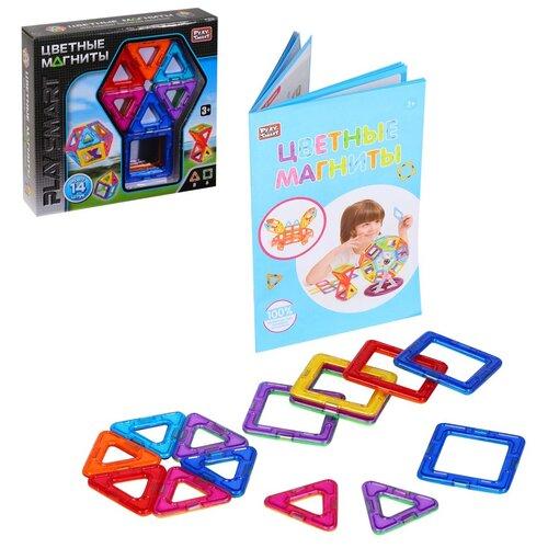 Игрушка детская развивающая PLAY SMART Магнитный конструктор Цветные магниты , игрушка для малышей развивающая, развивает мышление, память, моторику, воображение, (в комплекте 14 деталей), в/к 21х5х22 см, Развивающие игрушки  - купить со скидкой