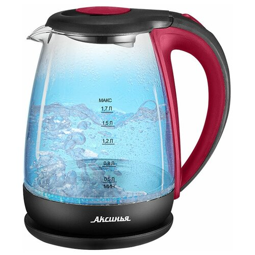 Аксинья Чайник электрический 2200 Вт, 1,7 л Аксинья КС-1040 красный с черным (0R-00005515) недорого