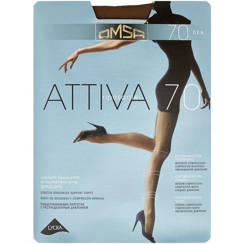 Колготки Omsa Attiva, 70 den, размер 4-L, camoscio (коричневый) колготки omsa attiva 70 den размер 2 s camoscio коричневый