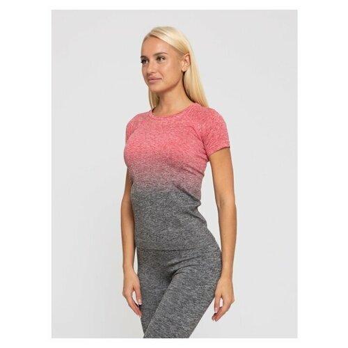 Спортивная женская футболка для фитнеса Lunarable темно-серый, красный, размер 42