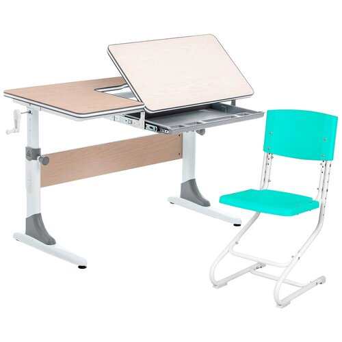 Комплект Anatomica парта + стул Study-100 100x60 см клен/серый/аквамарин комплект anatomica smart 60 парта study 120 lux кресло armata duos надстройка органайзер ящик клен серый зеленый