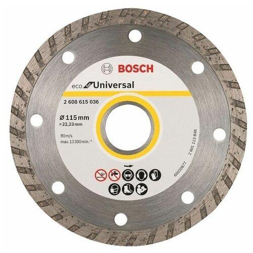 Фото - Диск алмазный отрезной BOSCH Eco for Universal 2608615036, 115 мм 1 шт. диск алмазный отрезной bosch standard for ceramic 2608602201 115 мм 1 шт