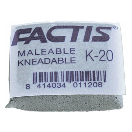 Фото - Ластик-клячка FACTIS K 20 (Испания), 37х29х10 мм, серый, прямоугольный, супермягкий, натуральный каучук, CCFK20, 5 шт. ластик прямоугольный синтетич каучук белый 39х19х10 мм index пакет