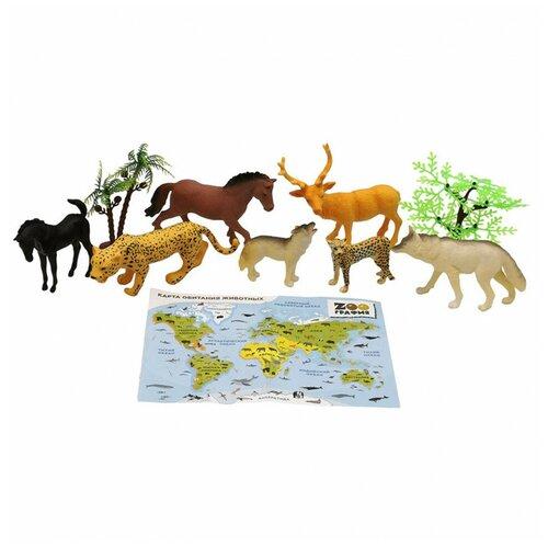 Игровой набор S+S Животные с картой обитания 8 шт Zooграфия S+S