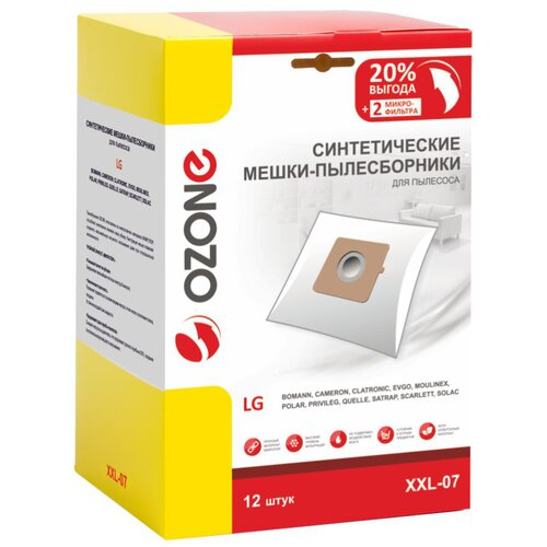 мешки пылесборники ozone xxl p05 бумажные 12 шт 2 микрофильтра для bosch siemens scarlett ufesa Синтетические мешки-пылесборники Ozone XXL-07 для пылесоса LG, 12 шт + 2 микрофильтра