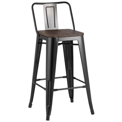 Фото - Барный стул Stool Group Tolix черный глянцевый/темное дерево YD-H675E-W LG-01 стул stool group tolix arm wood черный глянцевый темное дерево yd h440ar w lg 01