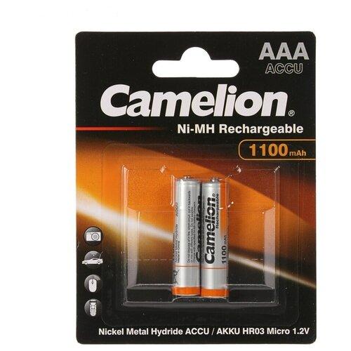 Аккумуляторные батарейки Camelion HR03 1100mah NI-MH NH-AAA1100BP2 BL2 батарейки удлинители и переходники camelion аккумулятор nh aa2300arbp2