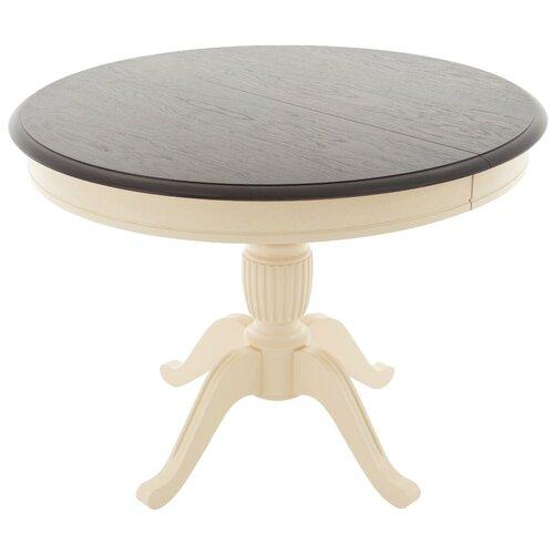 Стол кухонный AURORA (Димитровград) Леонардо, раскладной, длина в разложенном виде: 130 см, d: 100 см, слоновая кость/орех