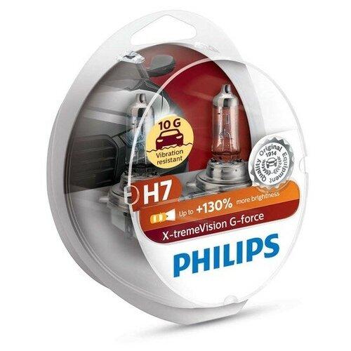 Лампа автомобильная галогенная Philips X-Treme Vision G-Force 12972XVGS2 H7 12v 55w 2 шт. автомобильная лампа h7 55w white vision 2шт w5w 2шт philips