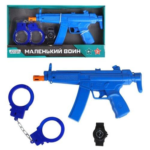 Игрушечное оружие детское ТМ КОМПАНИЯ ДРУЗЕЙ, Серия Маленький воин, Набор Полиция со звуком, на батарейках, игровой набор, игрушечный автомат, игрушечные наручники,набор для игры в полицейского, для детей, для мальчиков, синий, в/к 38*4,5*20,5 см
