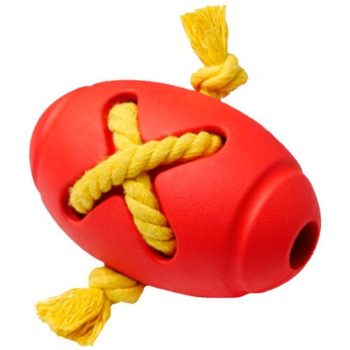 Игрушка для собак Homepet Silver Series мяч регби с канатом каучук красный 8 х 12,7 см (1 шт)