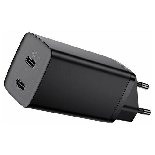 Сетевое зарядное устройство быстрое Baseus GaN2 Lite Quick Charger C+C (USB Type-C x2) 65W EU (CCGAN2L-E01) Чёрное сетевое зарядное устройство xiaomi mi zmi zpower trio charger max 65w 2 type c 1 usb a 1m cable type c type c eu ha932 черный
