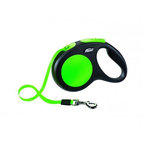 Фото - Поводок-рулетка для собак Flexi New Neon M ленточный зеленый 5 м поводок рулетка для собак flexi black design m ленточный зеленый 5 м