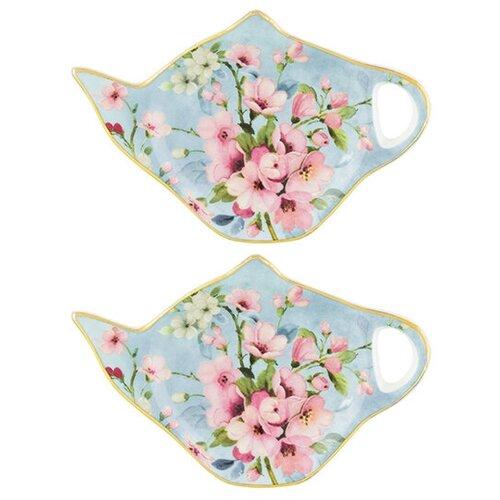 Подставка для чайных пакетиков Elan gallery Яблоневый цвет на голубом 420433, 2 шт голубой недорого