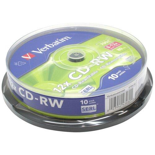 Фото - Диск CD-RW Verbatim 700Mb 12x 10 шт. cake box оптический диск cd rw mirex 700mb 4 12x cake box 10шт ul121002a8l
