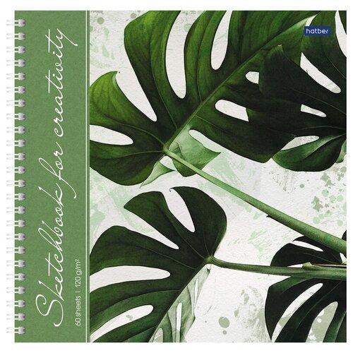 Купить Скетчбук-тетрадь 60л 210*210мм на гребне Hatber Тропические листья , 120г/м2, с твердой обложкой, Альбомы для рисования