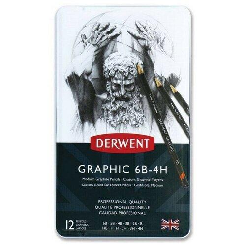 Купить Набор карандашей черногр. Derwent Grathic Medium 12шт 6B-4H мет кор 34214, Цветные карандаши