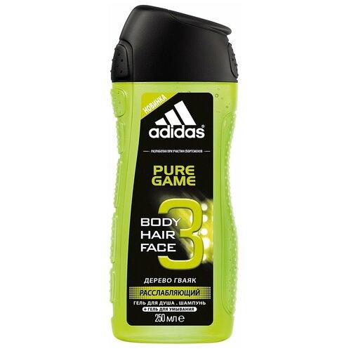 Гель для душа 3 в 1 Adidas Pure game для мужчин, 250 мл