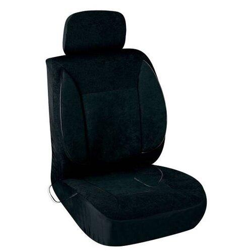 Чехлы на автомобильное сиденья с подогревом велюр SKYWAY с терморегулятором (2 режима) Черный с боковой поддержкой с