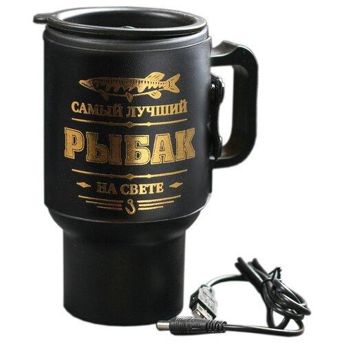 Термокружка Komandor Самый лучший рыбак, 0.45 л золотистый/черный по цене 725