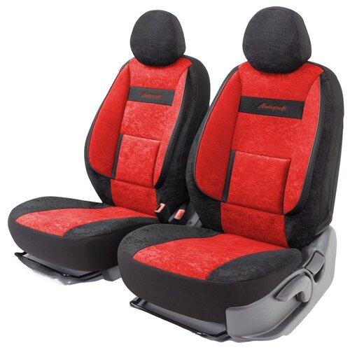 Получехлы на передние сиденья AUTOPROFI COM-0405 BK/RD COMFORT, велюр, 5 мм поролон, 3D крой, поясничный упор, 4 пред., чёрный/красный