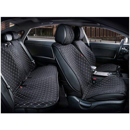 Комплект накидок на автомобильные сиденья CarFashion CROWN черный/черный/серый