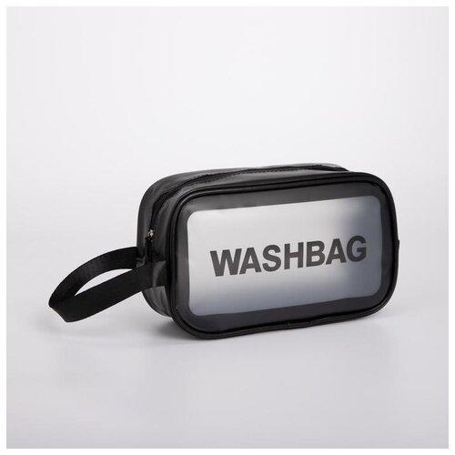 Косметичка ПВХ WashBag, 24,5*9,5*14,5 см, отдел на молнии с ручкой, черный 5448325
