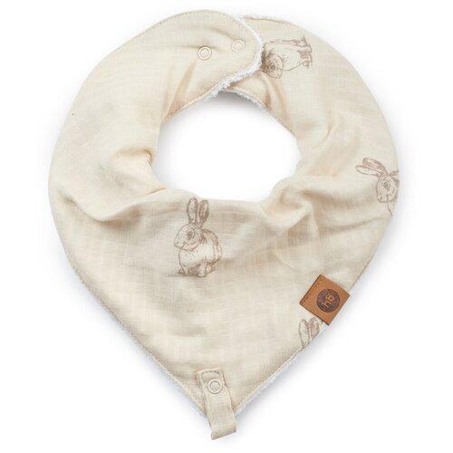 16016, Нагрудный фартук Happy Baby муслиновый с держателем, milky