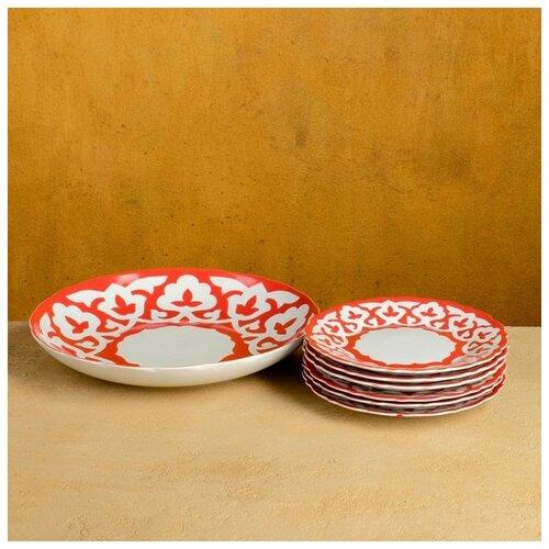 Набор для блинов Пахта красная 7 предм., тарелка 22см, 6 тарелок 17,5см 4855446
